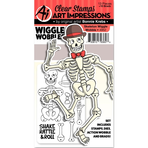Art Impressions SKELETON Wiggle Wobbles Clear Stamps and Dies 4952 Preview Image
