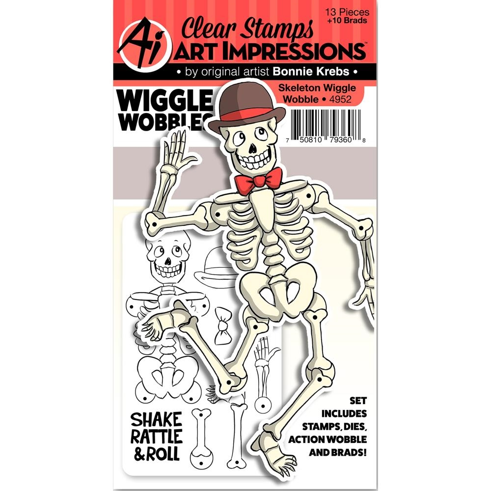 Art Impressions SKELETON Wiggle Wobbles Clear Stamps and Dies 4952 zoom image