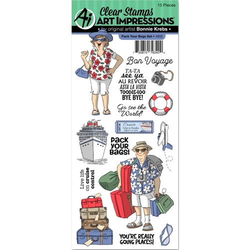 Art Impressions PACK YOUR BAGS Clear Stamps 4932* Preview Image