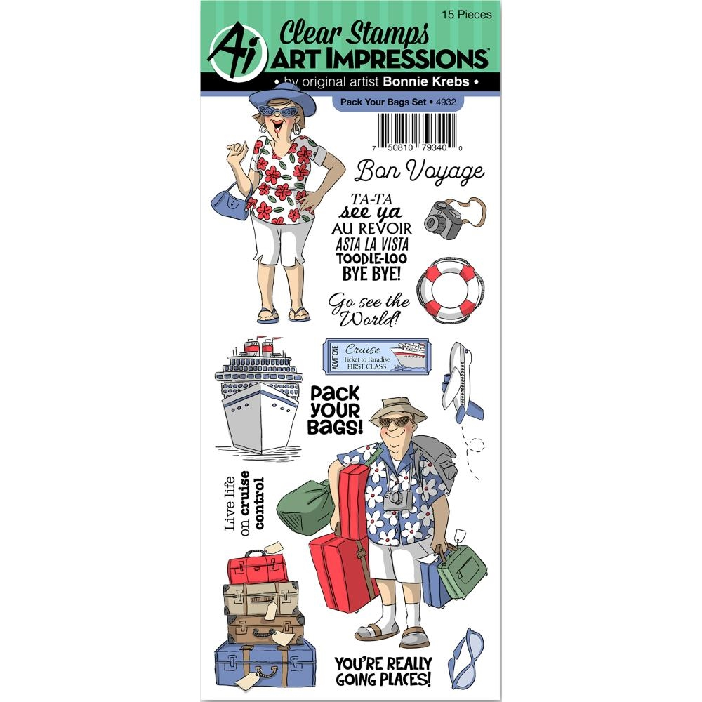 Art Impressions PACK YOUR BAGS Clear Stamps 4932* zoom image