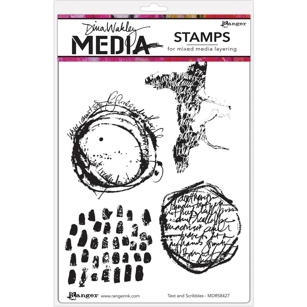 Dina Wakley TEXT AND SCRIBBLES Media Cling Rubber Stamp MDR58427* zoom image