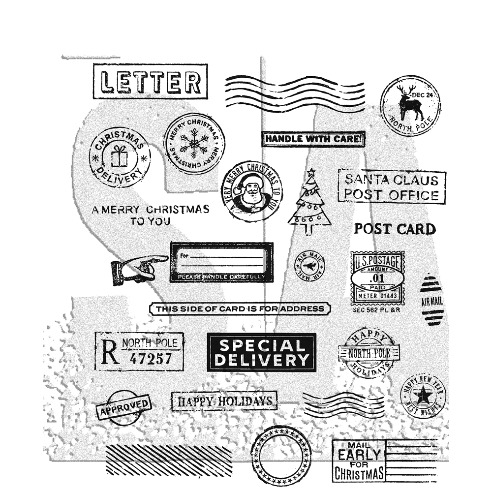Tim Holtz Cling Rubber Stamps HOLIDAY POSTMARKS CMS323 zoom image