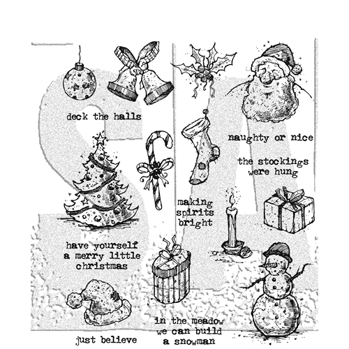 Tim Holtz Cling Rubber Stamps TATTERED CHRISTMAS CMS318 Preview Image