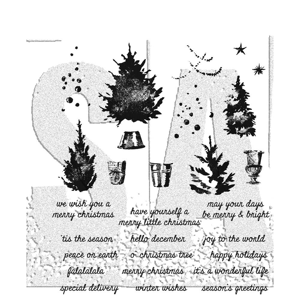 Tim Holtz Cling Rubber Stamps WATERCOLOR TREES CMS317 zoom image