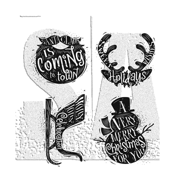 Tim Holtz Cling Rubber stamps CARVED CHRISTMAS 3 CMS315