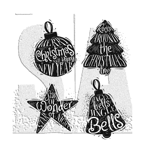 Tim Holtz Cling Rubber Stamps CARVED CHRISTMAS 2 CMS314 Preview Image
