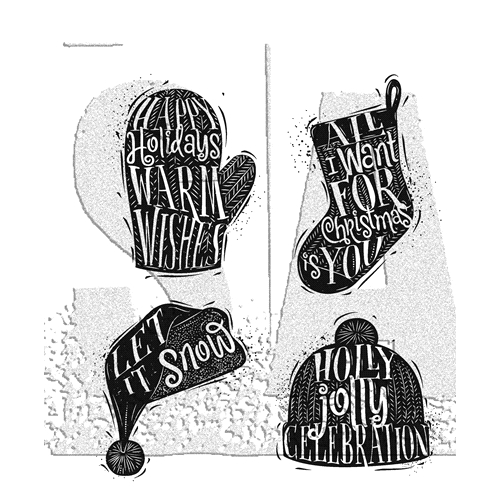 Tim Holtz Cling Rubber Stamps CARVED CHRISTMAS 1 CMS313  Preview Image