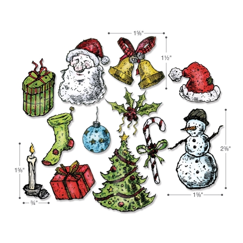 Tim Holtz Sizzix TATTERED CHRISTMAS Dies Set 662437 Preview Image