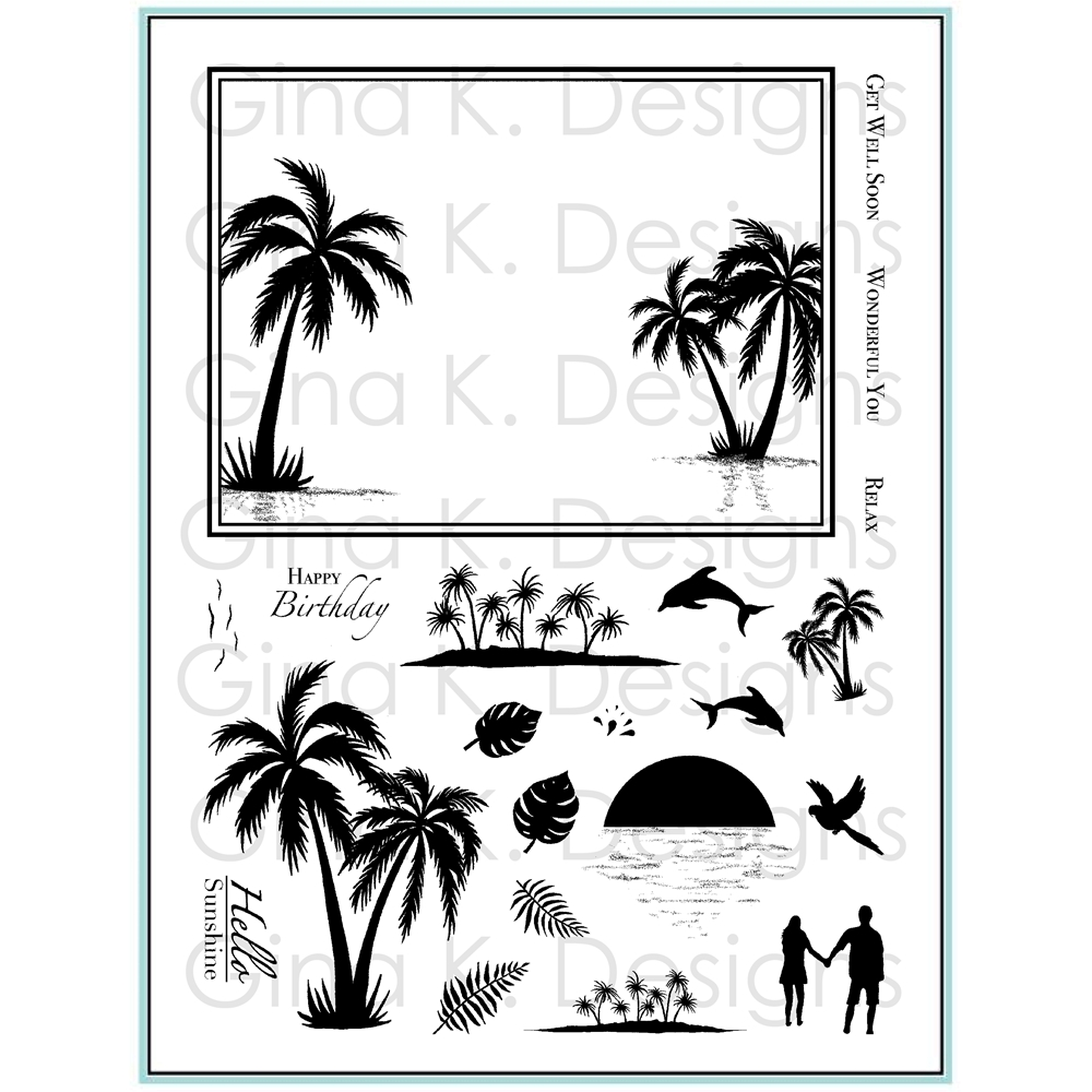 Gina K Designs FRAMESCAPE TROPICAL SKIES Clear Stamps 0558 zoom image