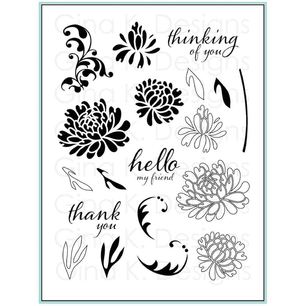 Gina K Designs DAZZLING DAHLIA Clear Stamps 9452 zoom image