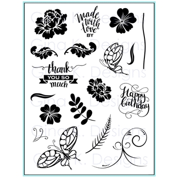 Gina K Designs MADE WITH LOVE Clear Stamps 9605*