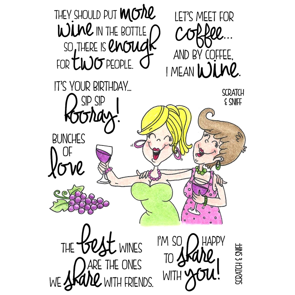 Inky Antics WINE TIME 2 Clear Stamp Set 11374MC zoom image