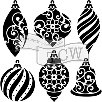 The Crafter's Workshop SMALL ORNAMENTS 6x6 Template TCW717s