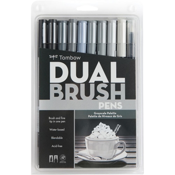 Tombow GRAY SCALE Dual Brush Pens 10 Pack 56171*