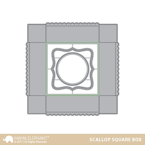 Mama Elephant SCALLOP SQUARE BOX Creative Cuts Steel Die Set * zoom image