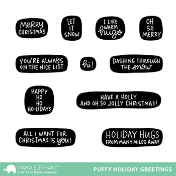 Mama Elephant Clear Stamps PUFFY HOLIDAY GREETINGS*