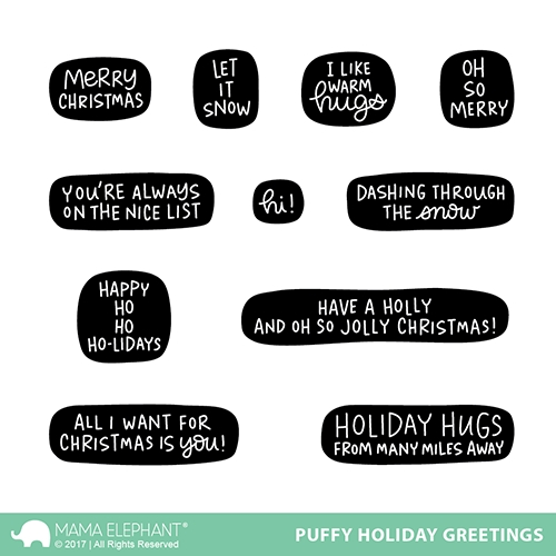 Mama Elephant Clear Stamps PUFFY HOLIDAY GREETINGS  zoom image
