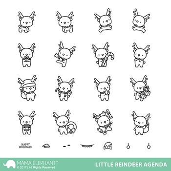 Mama Elephant Clear Stamps LITTLE REINDEER AGENDA*