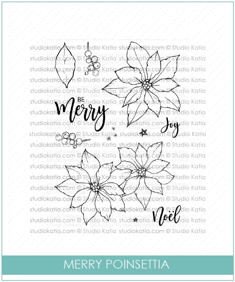 Studio Katia MERRY POINSETTIA Clear Stamps STKS032 zoom image