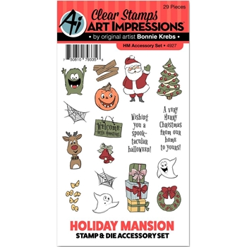 Art Impressions Holiday Mansion ACCESSORY Clear Stamp and Die Set 4927