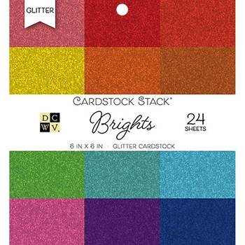 DCWV 6 x 6 BRIGHTS GLITTER Cardstock Stack PS-006-00117