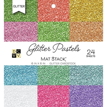 DCWV 6 x 6 GLITTER PASTELS Cardstock Stack PS-006-00119