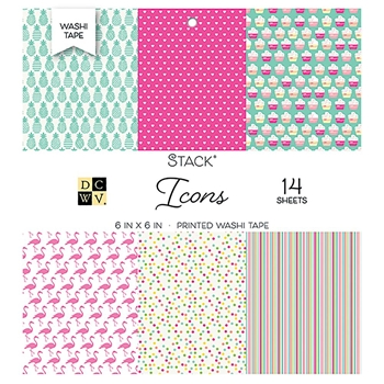 DCWV 6 x 6 WASHI ICON PRINTS Cardstock Stack PS-005-00551*