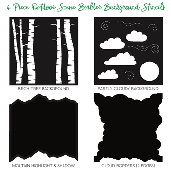 Honey Bee OUTDOOR SCENE BUILDER Stencils Set of 4 HBSL-008