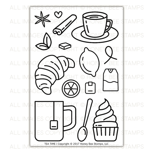 Honey Bee TEA TIME Clear Stamp Set HBST-082 Preview Image
