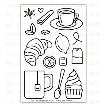 Honey Bee TEA TIME Clear Stamp Set HBST-082