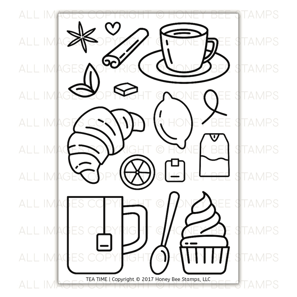 Honey Bee TEA TIME Clear Stamp Set HBST-082* zoom image