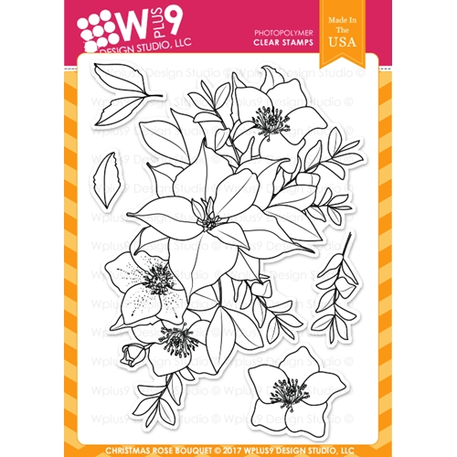 Wplus9 CHRISTMAS ROSE BOUQUET Clear Stamps CL-WP9CRB Preview Image