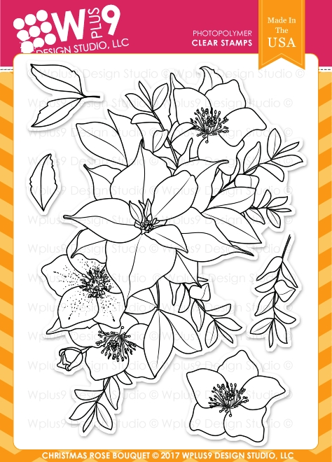 Wplus9 CHRISTMAS ROSE BOUQUET Clear Stamps CL-WP9CRB zoom image