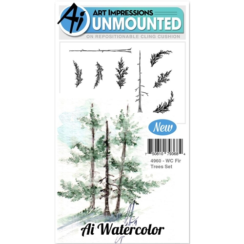 Art Impressions FIR TREES SET Cling Watercolor Rubber Stamps 4960 Preview Image