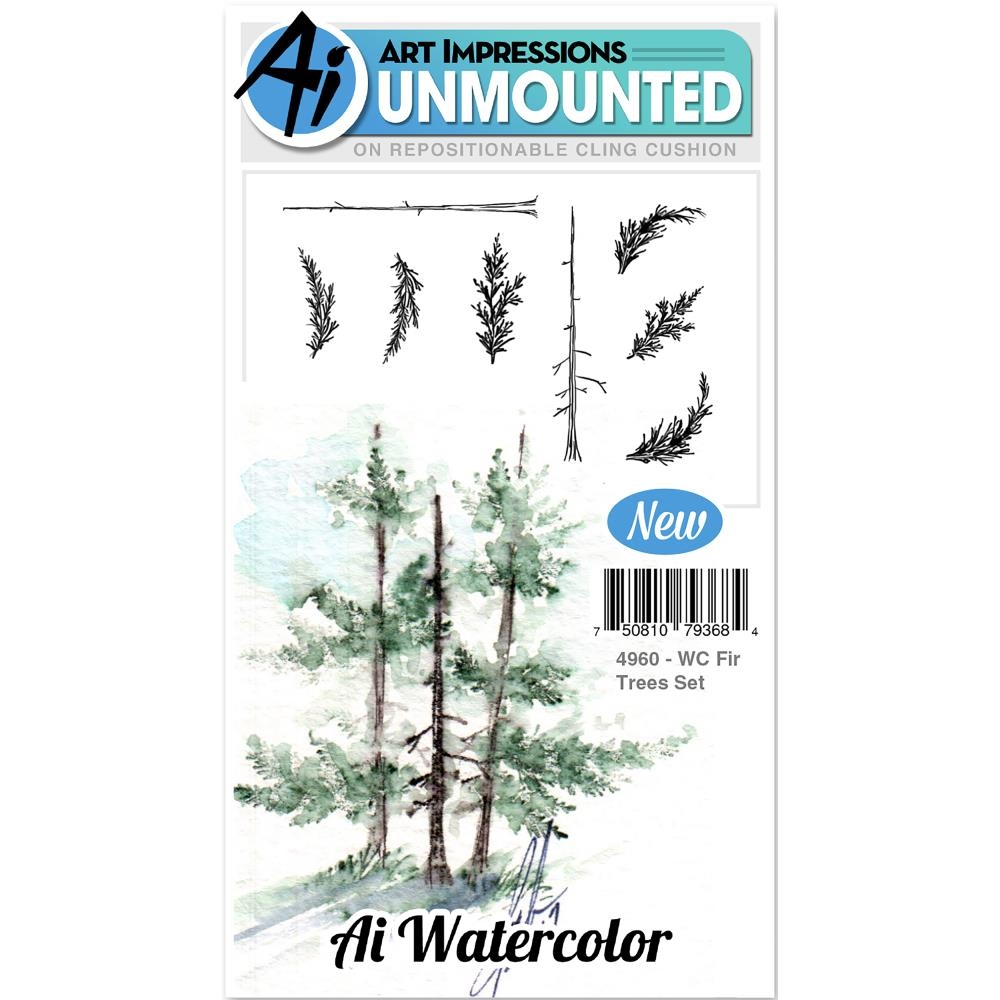 Art Impressions FIR TREES SET Cling Watercolor Rubber Stamps 4960 zoom image