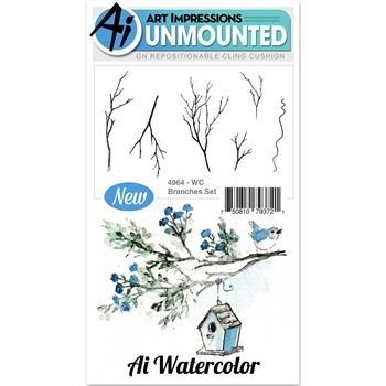 Art Impressions BRANCHES Cling Watercolor Rubber Stamps 4964