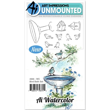 Art Impressions BIRD BATH Cling Watercolor Rubber Stamps 4966