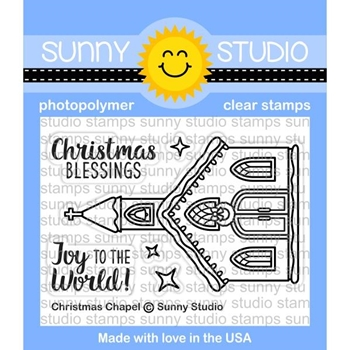 Sunny Studio CHRISTMAS CHAPEL Clear Stamp Set SSCL-178