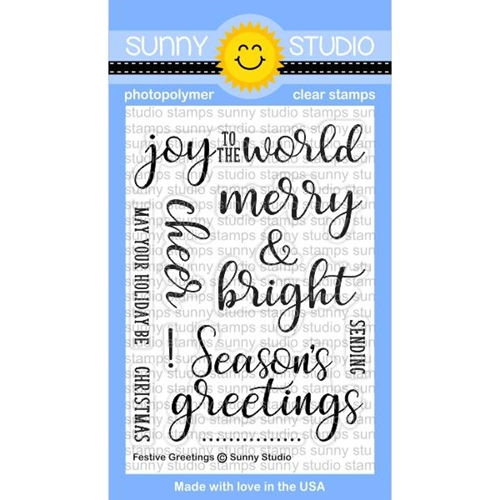Sunny Studio FESTIVE GREETINGS Clear Stamp Set SSCL-176 Preview Image