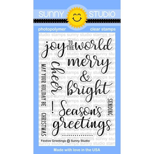 Sunny Studio FESTIVE GREETINGS Clear Stamp Set SSCL-176 zoom image