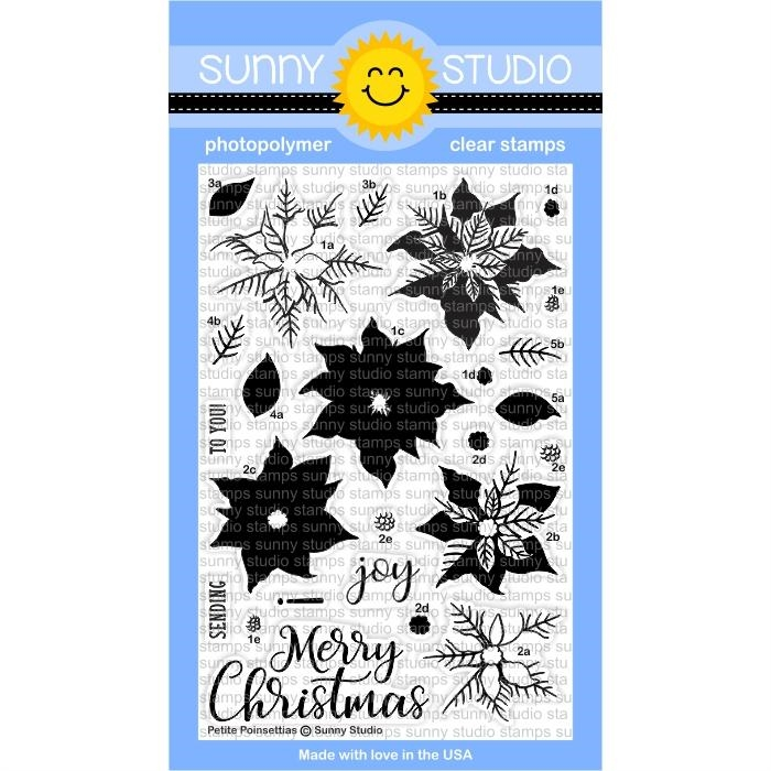 Sunny Studio PETITE POINSETTIAS Clear Stamp Set SSCL-175 zoom image