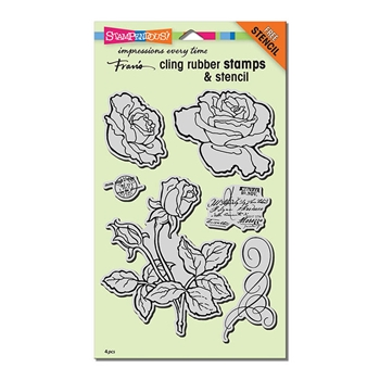 Stampendous Cling Stamp ROSE GARDEN with Stencil Rubber UM CRS5101*