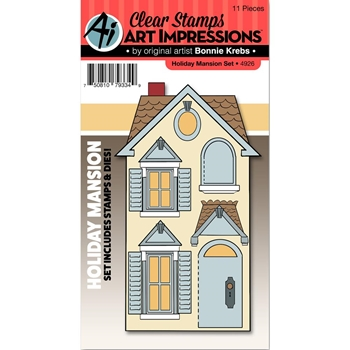 Art Impressions HOLIDAY MANSION SET Clear Stamps and Dies 4926