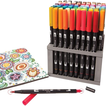 Tombow 96 DUAL BRUSH MARKERS With Desk Stand 56149