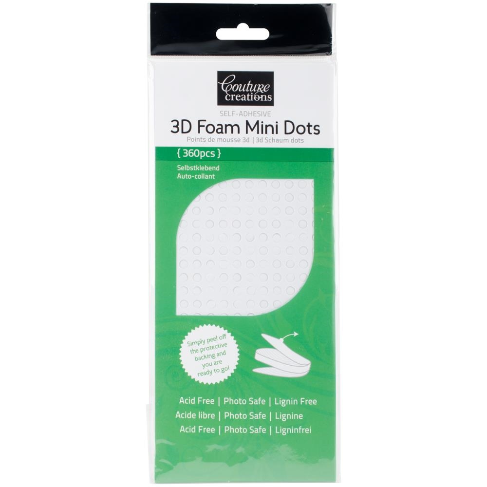 Couture Creations WHITE 3D FOAM MINI DOTS CO723781 zoom image