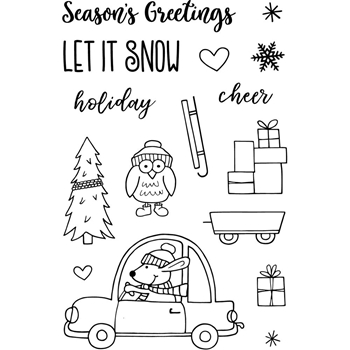 Jane's Doodles DRIVING HOME FOR CHRISTMAS Clear Stamp Set 743214*