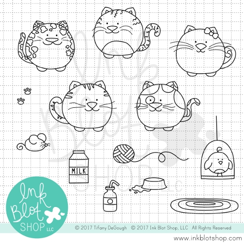 Ink Blot Shop Clear Stamp Set FAT CATS INBL028 Preview Image