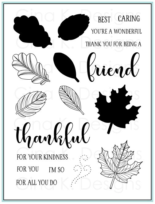 Gina K Designs STITCHED LEAVES Clear Stamps 9399 zoom image