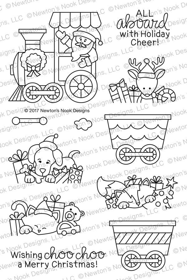 Newton's Nook Designs ALL ABOARD FOR CHRISTMAS Clear Stamp Set NN1710S02 zoom image
