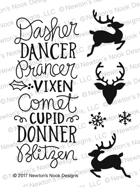 Newton's Nook Designs REINDEER ROLL CALL Clear Stamp Set NN1710S07* zoom image